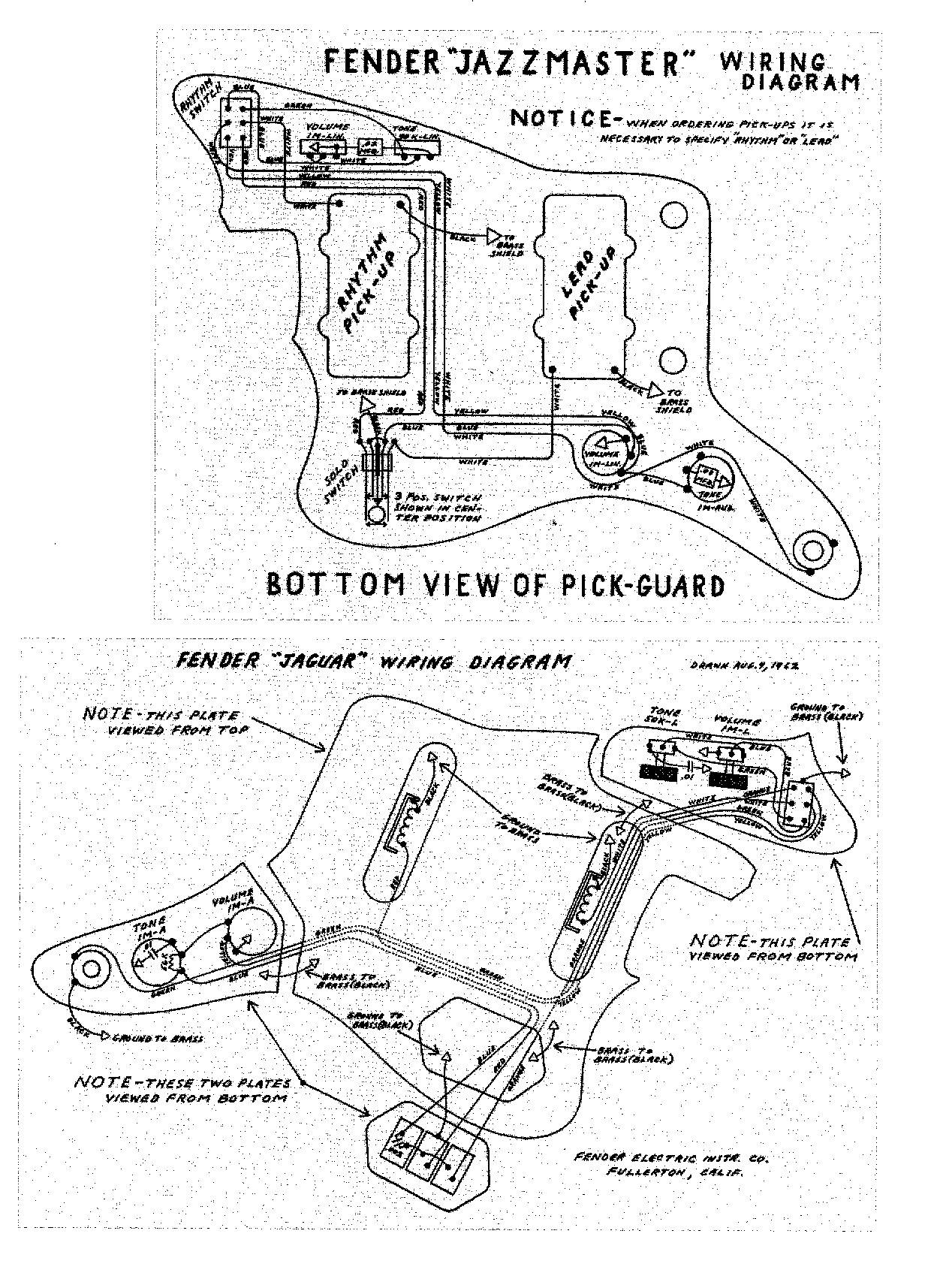 the jazzmaster and jaguar page that allows for the player to have two preset volume and tone settings and to change between them by flipping a switch for an image of the schematics